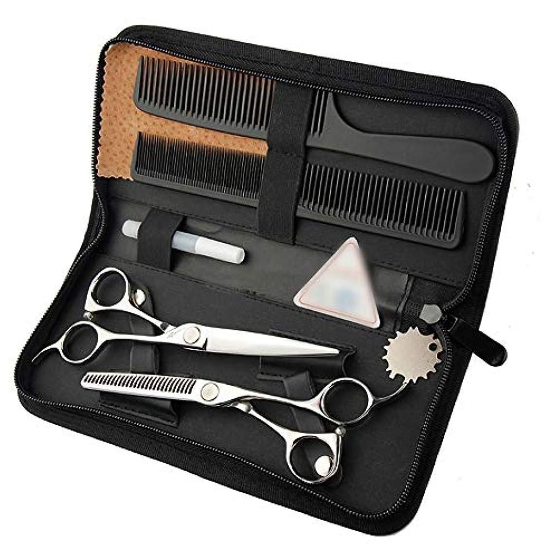 直接北米衣類6インチ美容院プロのヘアカットセット、ビッグサムライカットフラット+歯シザーセット モデリングツール (色 : Silver)