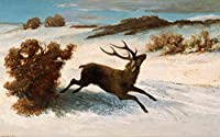 Gustave Courbet ジクレープリント キャンバス 印刷 複製画 絵画 ポスター(Deer Running in the Snow) ビッグサイズ 158.5 x 99cm #SDFB