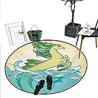 """動物プリントエリアラグ 日本の神話のヒッポカンパス像 水の中のフィン 伝説のアートワーク リビングダイニングルーム ベッドルーム 廊下 オフィス カーペット (直径24インチ) グリーン ブルー D24""""/0.6m"""