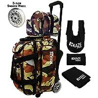Kazeスポーツ2ボールBowlingローラーwith Color Match Add Onスペアトートバッグとアクセサリーパック( Camo )