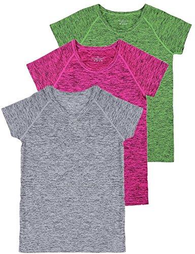 トレーニングウェア レディース 色柄 半袖 ラウンドネック Tシャツ フィットネス 吸汗速乾 スポーツ トップ グレー レッド グリーン L