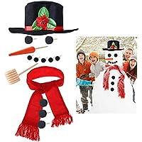 iBaseToy 雪だるま作りキット – 帽子スカーフ キャロット 鼻タバコパイプ 目隠しボタン用ブラックドット付き