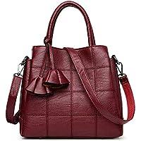 SODIAL Handbags Women Bags Designer Genuine Leather handbags Women Shoulder Bag Female crossbody messenger bag sac a main(Red wine)