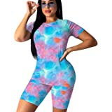 2 Piece Shorts Set for Women - Unique Pattern Prints Two Pc Outfits Short Sleeve Shirts Tops + Skinny Shorts Tracksuits