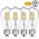 LED電球 フィラメント 6W E26口金 電球色(2700K) 白熱電球60W形相当 ST64 レトロエジソンバルブ 一般電球・全方向タイプ 調光器非対応 (6W, 4個)