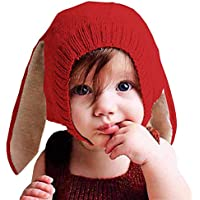 [HKH] キッズ ニット 帽 うさ耳 ニット帽 赤ちゃん ベビー 帽子 防寒 子供 衣装 (ポピーレッド)