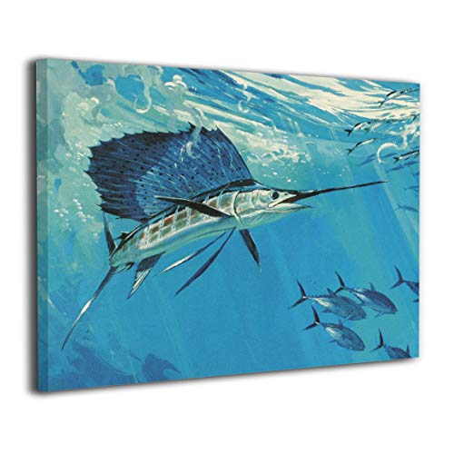 Shamp カジキ 海 ブルー 絵 壁掛け 絵画 インテリア ポスター アートポスター フレームレス装飾画 アートフレーム・ポスター 額縁なし 横