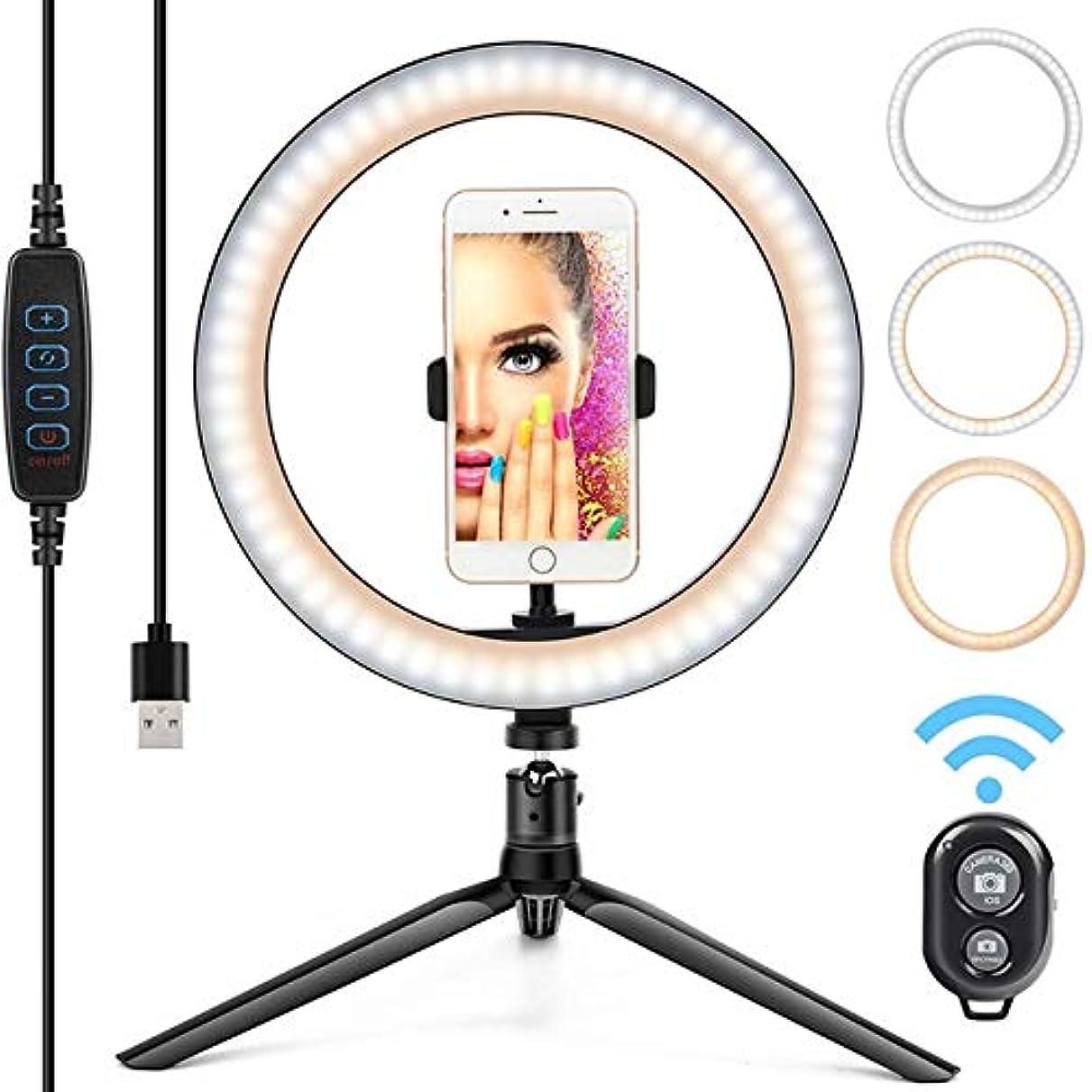 までレザー苦味MIYCV LEDライト照明モードの3種類の三脚スタンド10インチ自分撮り電話リングライト (Color : Style 1)