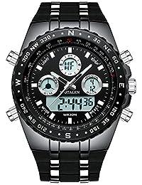 メンズ腕時計 スポーツ時計 ミリタリーウォッチ多機能 ビッグフェイス防水アナデジ腕時計ブラックシリコンバンド