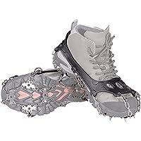 KUMFI 18本爪 アイゼン チェーンスパイク 簡単装着 スノースパイク アウトドア トレッキング 登山 雪山 靴滑り止め用 収納袋付き