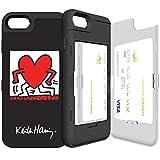 iPhone7 ケース 《SKINU》 キースへリング・KEITH HARING・カード収納可能・衝撃吸収抜群・傷防止・ミラー付き・スタンド機能・ICカード/クレジットカード完璧収納 (Walking Black)