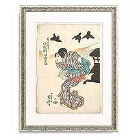歌川 国芳 Utagawa Kuniyoshi 「Iwai Shijaku acting as Ohatsu (from the Kabuki Drama Old Fashioned Brocade Motivs from Kagamiyama). 1842」 額装アート作品