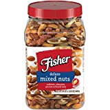 FISHER Snack Deluxe Mixed Nuts, 24 oz, Cashews, Almonds, Pecans, Brazil Nuts, No Peanuts, Naturally gluten free