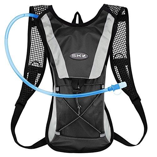 GIM ハイドレーションバッグ 2L給水袋 セット 水分補給 ランニングバッグ 自転車 登山 ランニング サイクリング 超軽量 (ブラック)