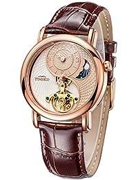 Time100 太陽と月と星 天体 太極形 スケルトン 中空フライホイール 機械式 腕時計  #W60012M.02A