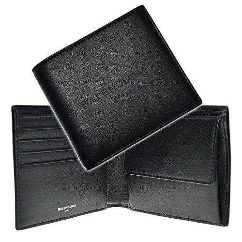 (バレンシアガ)BALENCIAGA メンズ二つ折り財布(小銭入れ付き) NAVY SQ COIN WALLET / 456491 0CH2N ブラック [並行輸入品]