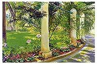 """タイル壁画のパスのNoria by georges-antoine Rochegrosse Palms Flowers Trees Park Gardenキッチンバスルームシャワー壁Backsplash止め板3x 24.25インチセラミック、光沢 6"""" Marble S1004__3x2_6iMarb_Tile_Mural"""