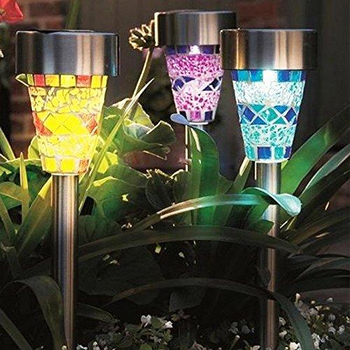 Avanti モザイク柄がやわらかく燈る ステンドグラス風 ソーラーライト(3本セット)自動点灯/自動消灯 ガーデンライト電源不要簡単設置防水仕様 ガーデニング庭屋外
