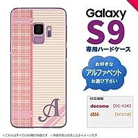 Galaxy S9 SC-02K SCV38(ギャラクシー エスナイン) SC-02K SCV38 スマホケース カバー ハードケース チェック・ボーダー ピンク イニシャル対応 E nk-s9-1605ini-e