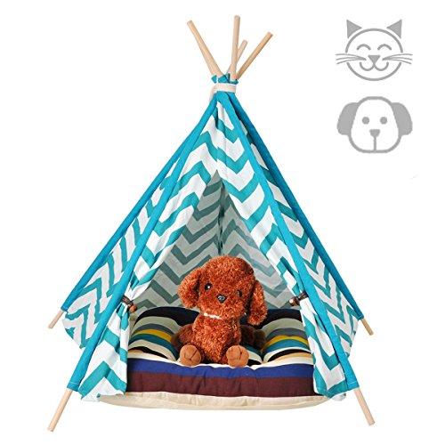 Milkee ティピーテント ペット テント 犬屋 ペット用テント ペット ティピーテント ペットハウス 犬 猫 (ブルーS)