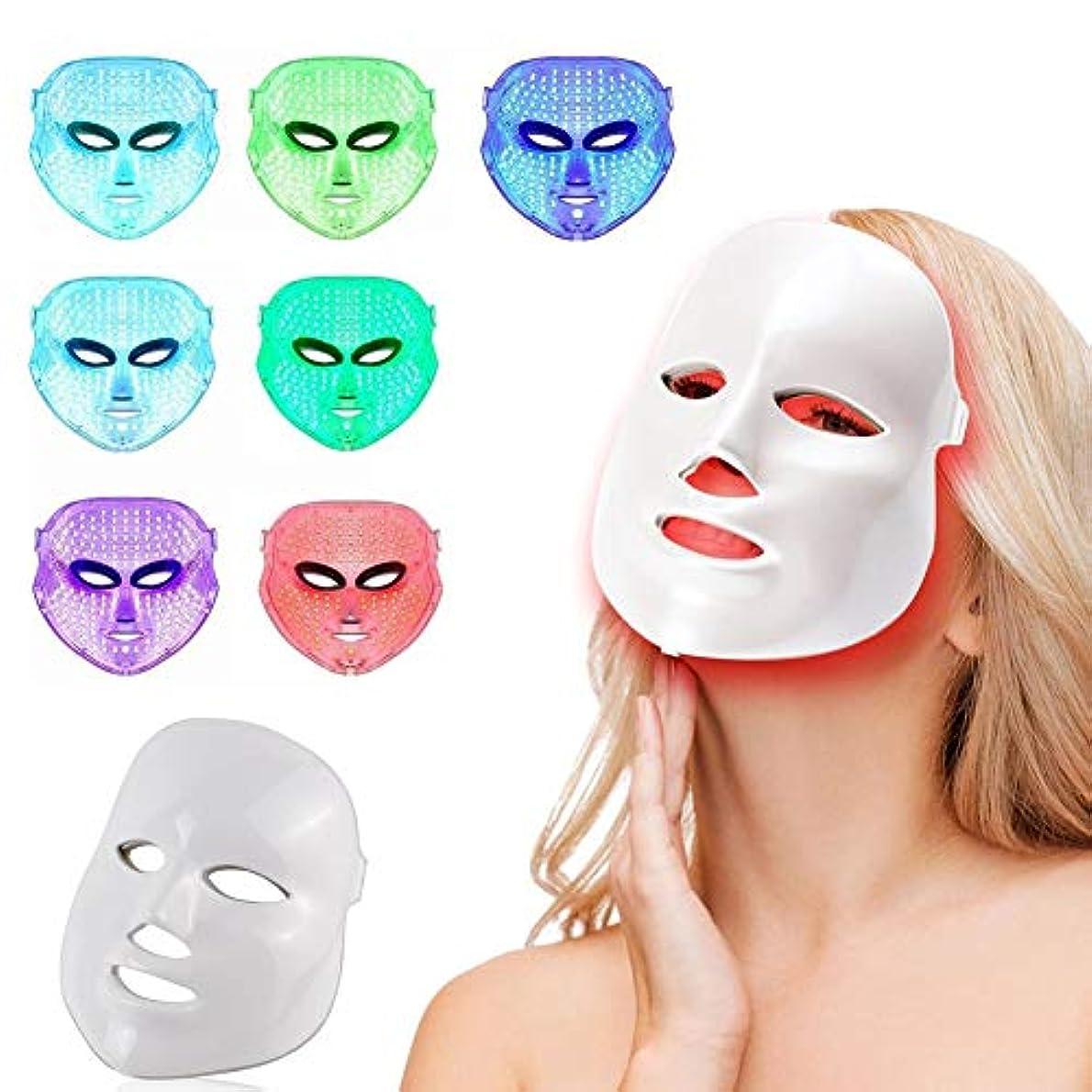 7色LEDフェイスマスク、健康な肌の若返りのための光子光療法、フェイシャルスキンケア、アンチエイジングビューティー