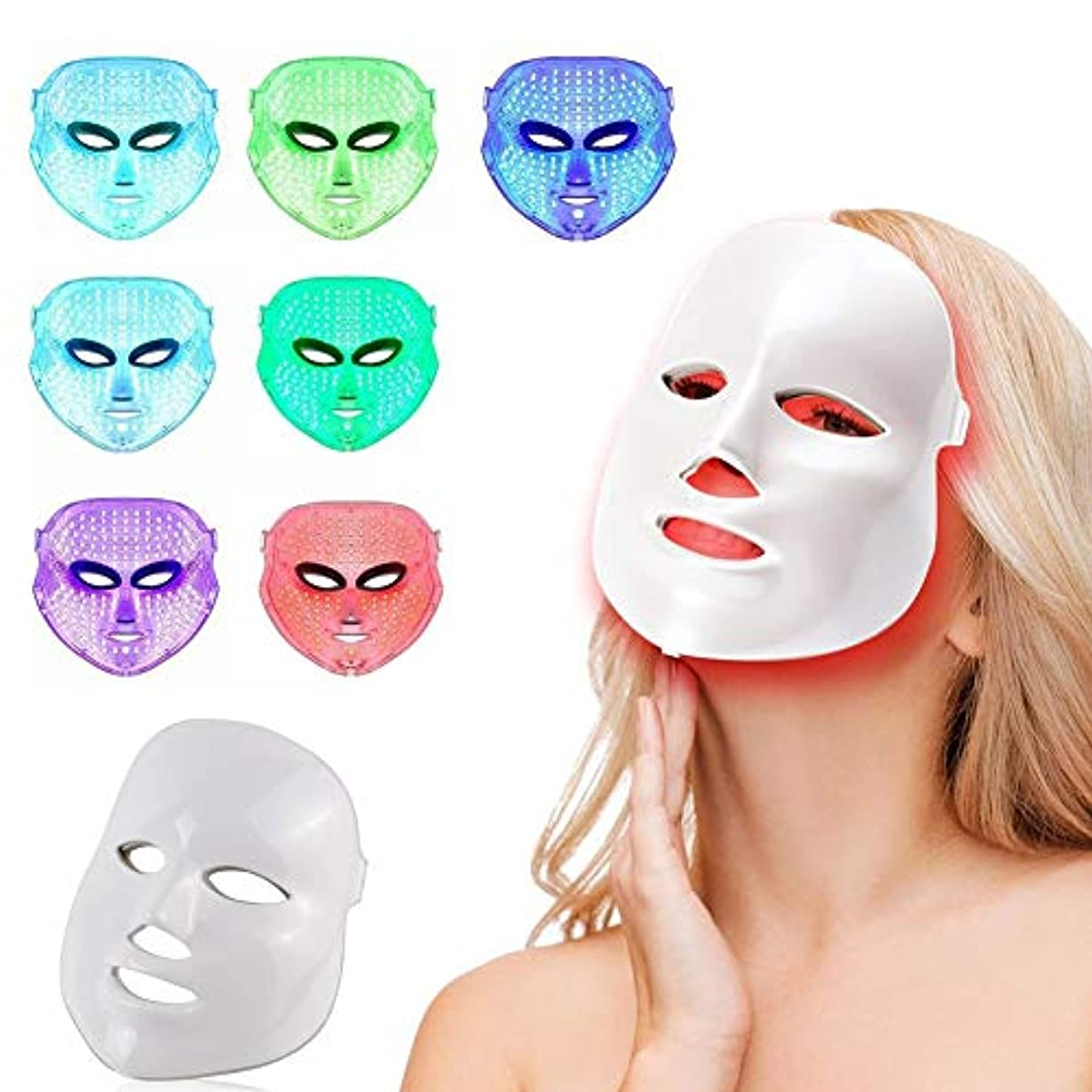略奪ソーシャル魅力的であることへのアピール7色LEDフェイスマスク、健康な肌の若返りのための光子光療法、フェイシャルスキンケア、アンチエイジングビューティー