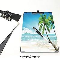 フォルダーボードフォルダーライティングボード 海 事務用品の文房具 (2パック)熱帯の島のヤシの木とエキゾチックなビーチのグラフィックサンサマーゾーンプリントブルーグリーンクリーム