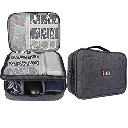 BUBM iPad/PC周辺/カメラ周辺機器整理保護ケース 二層式 ベルクロ...