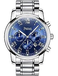 Smalody Prema 腕時計 ミリタリースポーツ デジタルクォーツ ルミナスフル ステンレススチールバンド メンズ ブルー