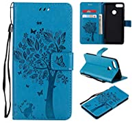 OMATENTI Huawei Y9 2018 ケース 手帳型ケース ウォレット型 カード収納 ストラップ付き 高級感PUレザー 押し花木柄 落下防止 財布型 カバー Huawei Y9 2018 用 Case Cover, ブルー