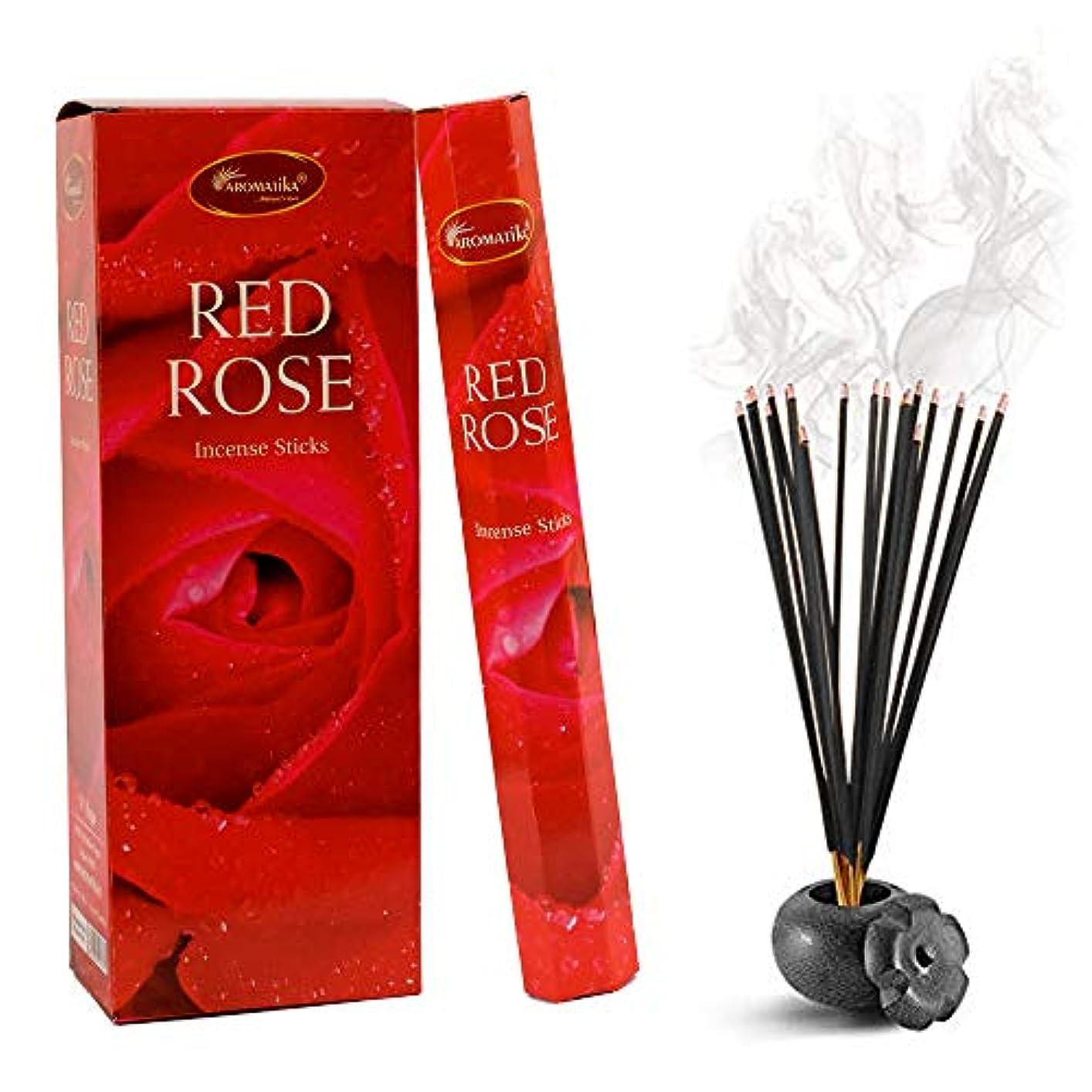 センブランス執着抑制するaromatikaレッドローズ香水Incense Sticks (Hexa)