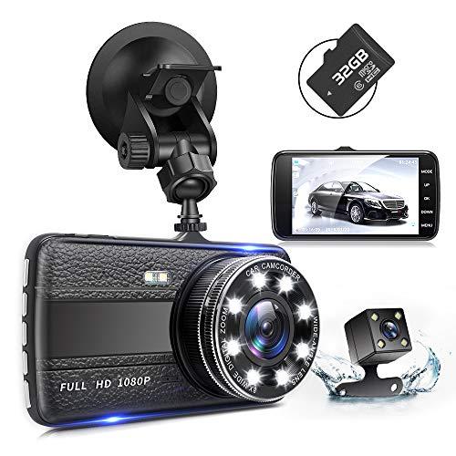 ドライブレコーダー 前後カメラ 32GB SDカード付き 1080PフルHD 1800万画素 デュアルドライブレコーダー 170°広視野角 SONYセンサー/レンズ 常時録画 衝撃録画 高速起動 G-sensor WDR
