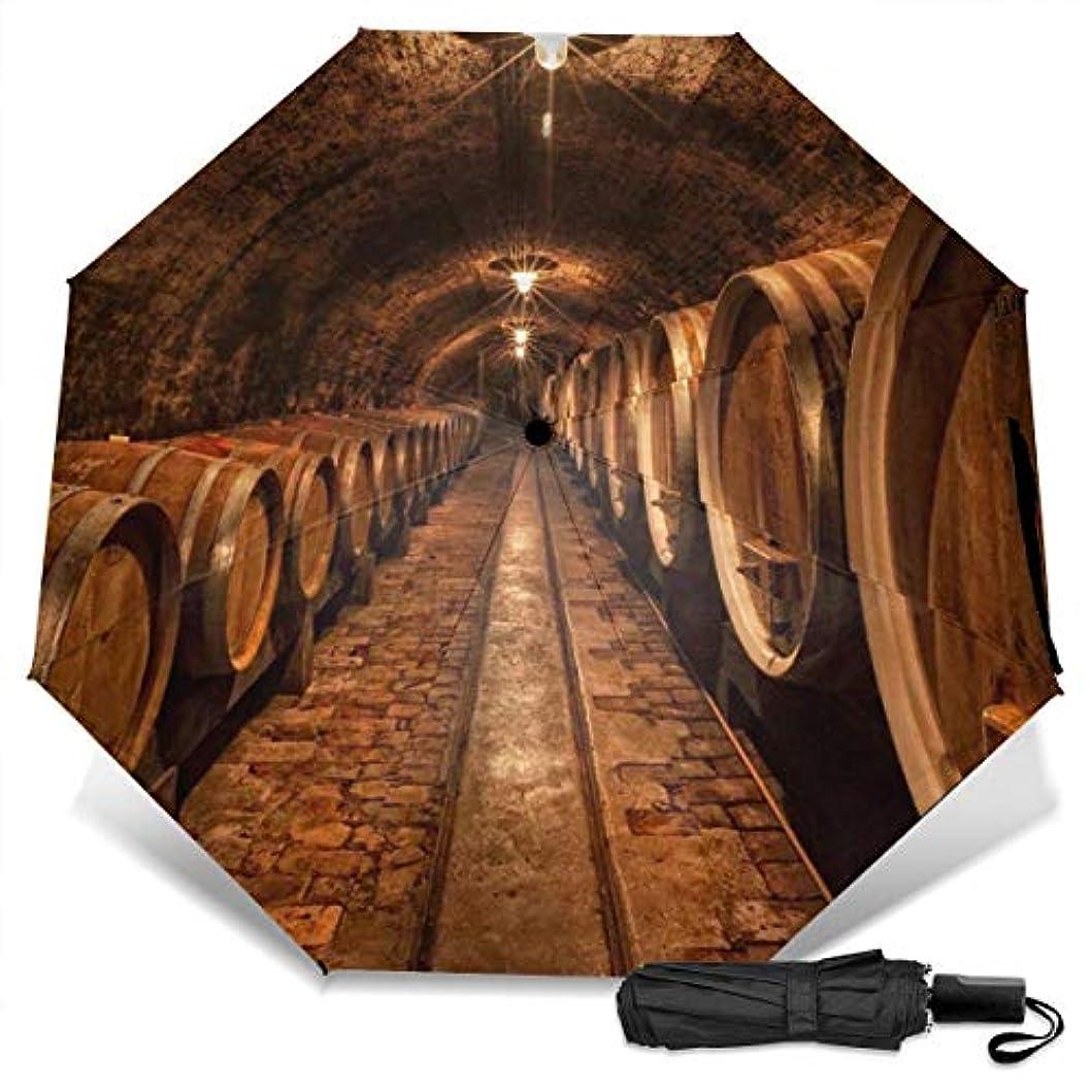 利益チャンバー単調なワインセラー折りたたみ傘 軽量 手動三つ折り傘 日傘 耐風撥水 晴雨兼用 遮光遮熱 紫外線対策 携帯用かさ 出張旅行通勤 女性と男性用 (黒ゴム)