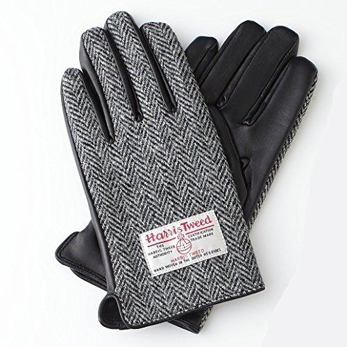 メンズ ハリスツィードx羊革コンビグローブ グローブ 手袋 GLOVE スマホ対応 002 (ヘリンボーン)