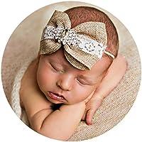 miugle赤ちゃんシン伸縮性ヘッドバンドwith黄麻布リボン