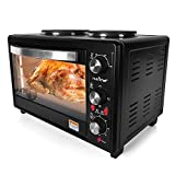 NutriChef Multi function Countertop Oven Rotisserie Cooker with Dual Electric Burner, Broiler Black (PKRTO28 ) by NutriChef