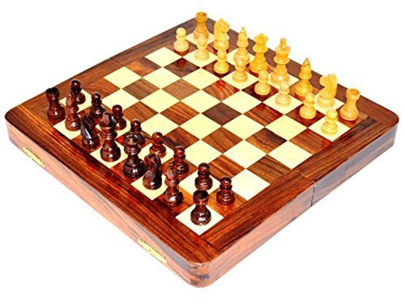 High Quality Deluxe 7 Inches Travel Magnetic Handcrafted Wooden Chess Board with Wood Chess Pieces [並行輸入品]