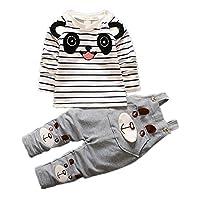 JIEYA女の赤ちゃんのロンパーススーツオーバーオール長袖ストライプTシャツ+オーバーオール2個服セット (2-3year, 灰)