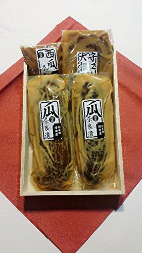 奈良漬 特選 木箱 4,600 奈良で作りました 瓜 2個 守口大根 西瓜 国産材料 使用 選べる風呂敷付