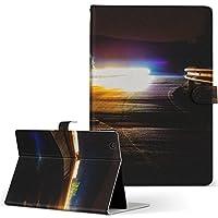 igcase d-01J dtab Compact Huawei ファーウェイ タブレット 手帳型 タブレットケース タブレットカバー カバー レザー ケース 手帳タイプ フリップ ダイアリー 二つ折り 直接貼り付けタイプ 014961 風景 自然 背景 夜空 夕日