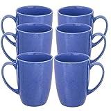 Best スターバックス電子レンジコーヒーカップ - ヒューズ(6パック) 磁器コーヒーマグハンドル付きセットGlazedセラミックマグ15oz再利用可能なホットココアティーカップ ブルー 8955BL Review
