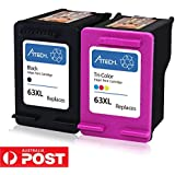 Maskjet Remanufactured for HP 63 Ink Cartridges High Yield, 1 Black + 1 Tri-Color, Ink Level Display for HP Envy 4520 4516 HP Officejet 4650 3830 3831 4655 Deskjet 2130 1112 3630 3633 3634 Printer