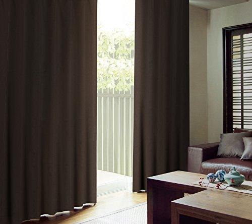【遮熱・遮光】カーテン 高断熱 1級遮光 カーテン「CALM」 完全遮光生地使用で冷房効率アップ!遮音・吸音効果で生活音を軽減    サイズ:(幅)100×(丈)200cm 2枚組 色:ブラウン