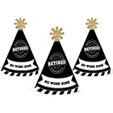 Happy Retirement - Mini Cone Retirement Party Hats - Small Little Party Hats - Set of 10