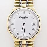 クリスチャン ディオール メンズ 腕時計 ヴィンテージ 白文字盤 ゴールド×シルバー コンビ 動作ok 中古