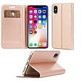 ChalLink iPhone X ケース 全面保護 耐衝撃 防塵 高級PUレザー TPU 装着やすい アイフォン X ケース 薄型 軽量 マグネット カード収納 スマホケース 手作り ハンドメイド スタンド機能付き 人気 おしゃれ 手帳ケース (iphone X, ローズゴールド)