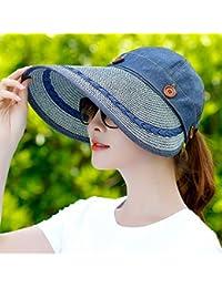 SUNNY 女性の日焼け止めアウトドアサンハット夏シーズンバイザーユースクライミンググレートエッジハット ( 色 : 濃紺 )