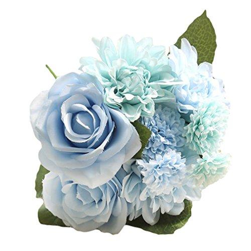 EOZY 枯れない花 造花 花束 薔薇 プレゼント 結婚式 母の日 お誕生日 インテリア フラワー 置物 卓上装飾 アレンジメント 観賞植物 ブルー