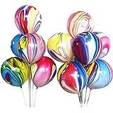 レインボーメノウマーブルラテックスバルーン 50個 カラーマーブルタイダイ 渦巻き模様 イースター/ウェディング/誕生日パーティー用バルーン