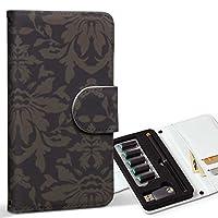 スマコレ ploom TECH プルームテック 専用 レザーケース 手帳型 タバコ ケース カバー 合皮 ケース カバー 収納 プルームケース デザイン 革 クール 模様 エレガント ブラウン 003945